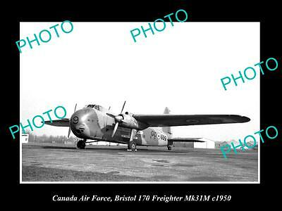 OLD LARGE HISTORIC PHOTO OF CANADA AIR FORCE, RCAF BRISTOL FREIGHTER PLANE c1950