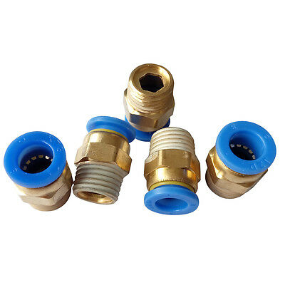 """5 pcs 8 mm Tube Push in Fitting to 1/8"""" BSPT Male Air Pneumatic Connector"""
