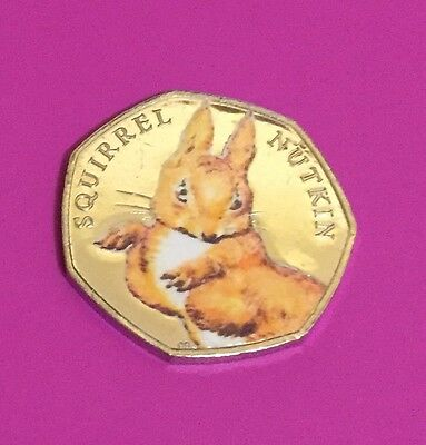 *UNCIRCULATED* Beatrix Potter Squirrel Nutkin Coloured 50p Coin (Silver Colour)