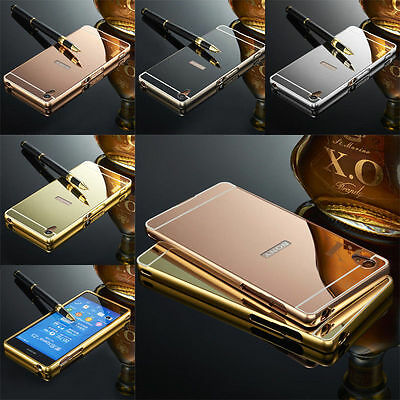 New Luxury Mirror Aluminum Metal Bumper Frame + PC Case Cover Fo For Sony Xperia