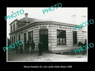 OLD LARGE HISTORIC PHOTO OF MOUNT GAMBIER SA, VIEW OF THE GLOBE HOTEL c1890