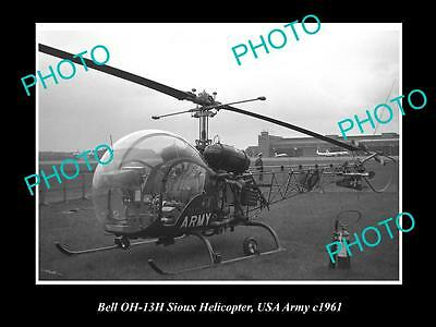 OLD LARGE HISTORIC AVIATION PHOTO OF BELL SIOUX HELICOPTER, US ARMY c1961
