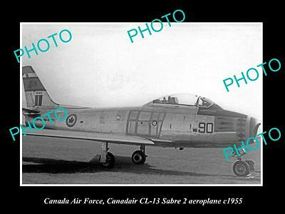 OLD LARGE HISTORIC PHOTO OF CANADA AIR FORCE, RCAF CANADAIR SABRE PLANE c1955
