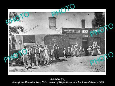 OLD LARGE HISTORIC PHOTO OF ADELAIDE SA, VIEW OF THE BURNSIDE INN HOTEL c1870