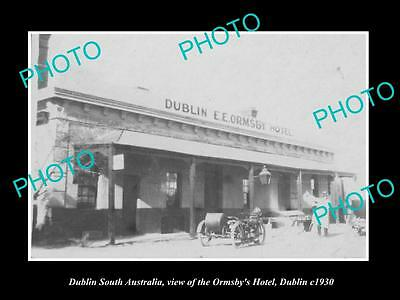 OLD LARGE HISTORIC PHOTO OF DUBLIN SOUTH AUSTRALIA, THE ORMSBY HOTEL c1930