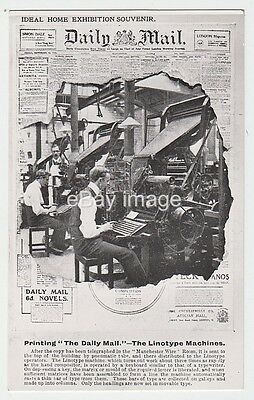 Daily Mail Ideal Home Exhibition souvenir + Linotype typing machines RP postcard