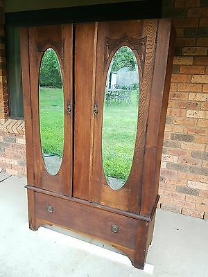 Beautiful Carved Antique Wooden Wardrobe with 2 Mirrored Doors