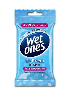 Wet Ones Be Fresh Delicate Antibacterial Baby / Adult / Handbag Wipes - 72 Pack