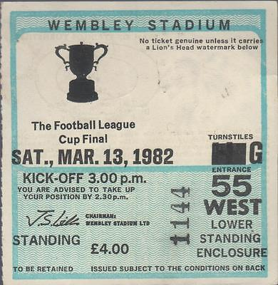 Football League Cup Final Ticket 13 March 1982