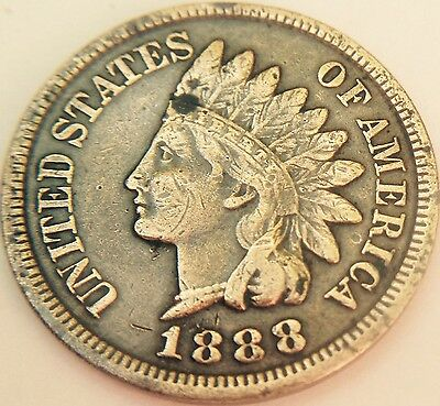 1888 Indian Head United States Of America One Cent Rare Old Coin