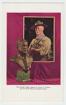 Lord Baden-Powell portrait + Chief Scout bronze bust by Bisset postcard