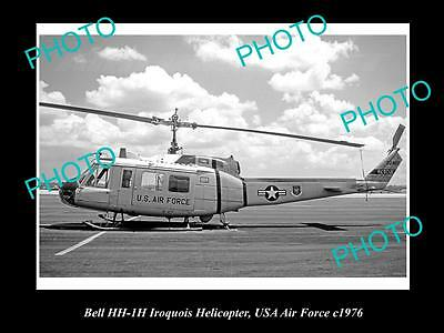 OLD HISTORIC AVIATION PHOTO OF BELL IROQUOIS HELICOPTER, US AIR FORCE c1976