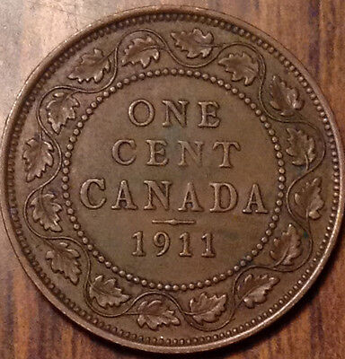 1911 Canada Large Cent In Good Condition !