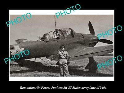 Old Large Historic Photo Of Romania Air Force, Junkers Stuka Plane 1940