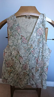 Vintage Grey Ladies Waistcoat with Floral Patterned Front - Size Large 40""