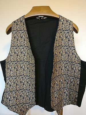 Vintage Open Black Waistcoat with Gold Patterned Front - Size X Large 44""