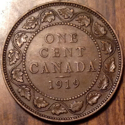 1919 Canada Large Cent In Good Condition !