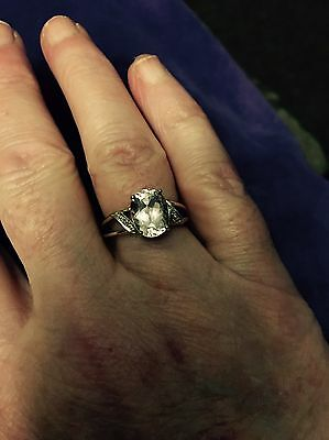 Rare Kunzite and Diamond 9ct yellow solid gold ring, size N