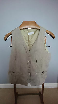 Vintage Light Green/Gold Ladies Waistcoat with Thick V Neck - Size Large 40""