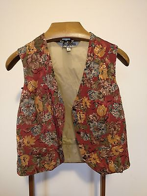 Vintage Beige Waistcoat with a Red Floral Patterned Front - Large 40""