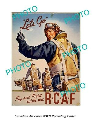 Large Historic Photo Of Canadian Air Force Rcaf Wwii Recruiting Poster 5