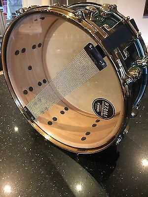 Tama Starclassic Maple Snare With Green Sparkle Finish And Gold Hardware 14x51/2