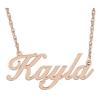 14kt or 10kt script name plate necklace rose, yellow or white gold 16-18 in