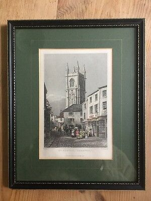 Antique 19th C Framed Engraved Print Of St Austell By Thomas Allom