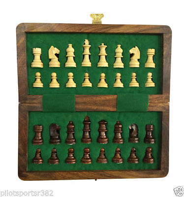 """NEW 7""""x7"""" HANDMADE TOP QUALITY MAGNETIC WOODEN CHESS SET- GIFT ITEM"""