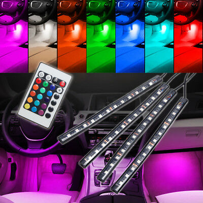4x 12 LED Remote Control Colorful RGB Car Interior Floor Atmosphere Light Strip