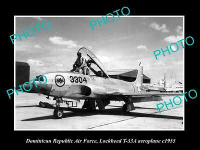 Old Large Historic Photo Of Dominican Republic Air Force Lockheed Jet Plane 1955