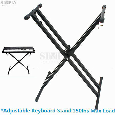 Professional Folding Music Piano Double Braced Keyboard Stand Abjustable X Type