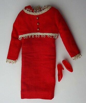 Vintage Japanese Exclusive Francie Red Ensemble Dress #2204 Shoes