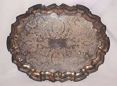 "Vintage Ornate 14""x 11"" Oval Silverplated Footed Serving Tray EALES 1779"