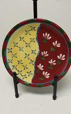 """Dansk Hand Painted 9"""" Lunch Salad Plate Red Yellow & Green"""