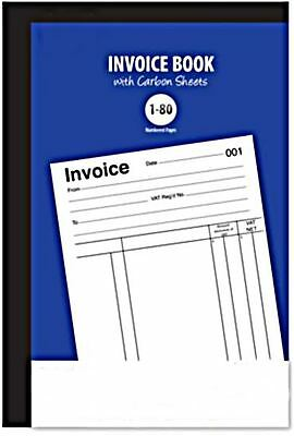 Invoice Duplicate Book Ruled Feint 1-80 Pages Office Numered Carbon Receipt Vat