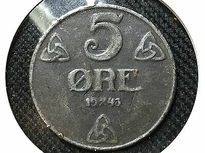 Wwii 5 Ore Coin From Norway Dated 1943