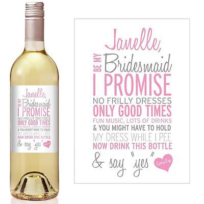 Will you be my Bridesmaid? Wine bottle stickers. Personalised.