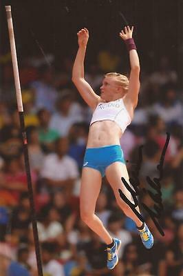 ATHLETICS: MINNA NIKKANEN SIGNED 6x4 ACTION PHOTO+COA *RIO 2016* *FINLAND*