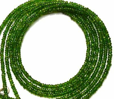 """Super Top Quality Chrome Diopside Faceted 3Mm Approx Rondelle Beads Necklace 17"""""""