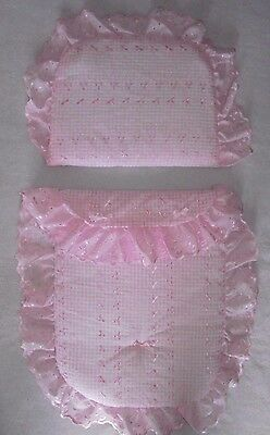 Pretty Moses Basket  Decorative Set Quilt & Pillow Pink Gingham Romany Style