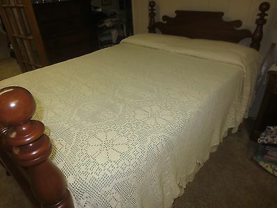 """CROCHETED BEDSPREAD or TABLECLOTH Antique NATURAL HAND MADE   - 94"""" x 108"""""""