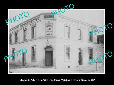 OLD LARGE HISTORIC PHOTO OF ADELAIDE SA, THE WOODMAN HOTEL, GRENFELL St c1890