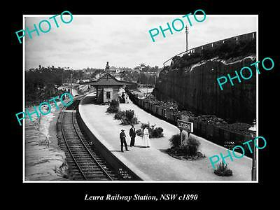 OLD LARGE HISTORIC PHOTO OF LEURA NSW, VIEW OF THE RAILWAY STATION c1890