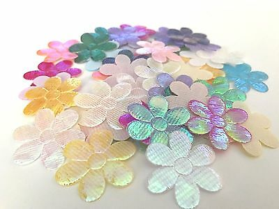 100pcs Assorted Colours Holo Fabric Flower Motifs 30mm Stick/Sew DIY