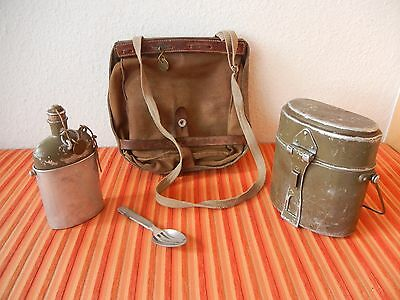 Vintage 1936 Swiss Army Military Salt & Pepper bread bag Canvas bottle +canteen
