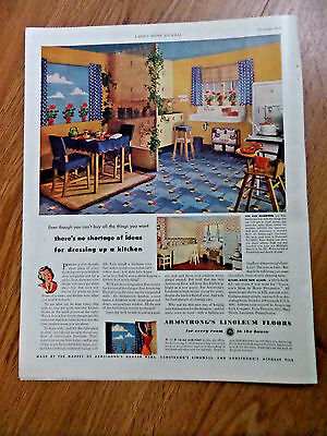 1942 Armstrong's Linoleum Floors Ad Kitchen Themes