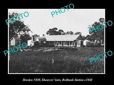 OLD LARGE HISTORIC PHOTO OF HARDEN NSW, REDBANK STATION SHEARERS HUT c1930