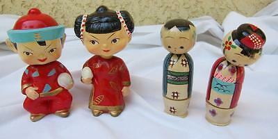 Japan Bobblehead Nodders 2 Paper Mache & 8 Stacking Wood Figures l