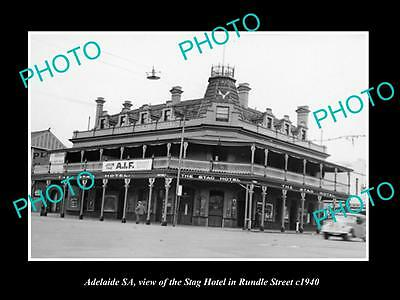 OLD LARGE HISTORIC PHOTO OF ADELAIDE SA, THE STAG HOTEL, RUNDLE ST c1940